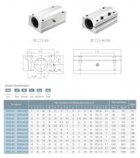 Размеры и характеристики линейных подшипников серии SCL